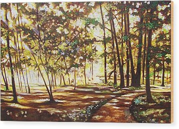 Wood Print featuring the painting Live Happily by Emery Franklin