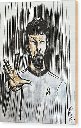 Wood Print featuring the drawing Live Long And Prosper...... by Tu-Kwon Thomas