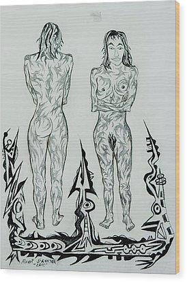 Live Nude 43 Female Wood Print by Robert SORENSEN