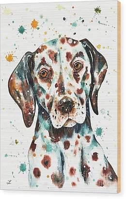 Wood Print featuring the painting Liver-spotted Dalmatian by Zaira Dzhaubaeva