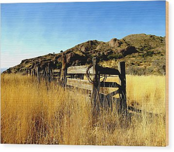 Livery Fence At Dripping Springs Wood Print by Kurt Van Wagner