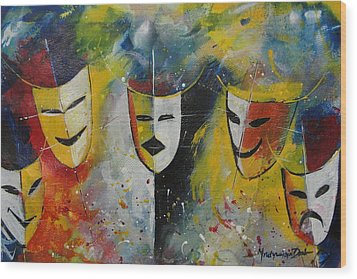 Living Masks Wood Print