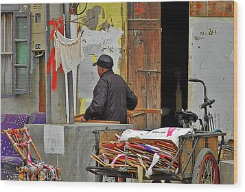 Living The Old Shanghai Life Wood Print by Christine Till