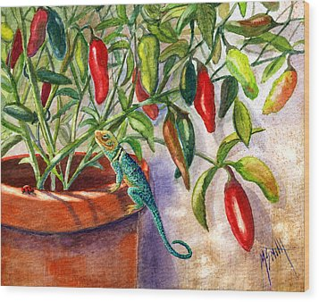 Wood Print featuring the painting Lizard In Hot Sauce by Marilyn Smith