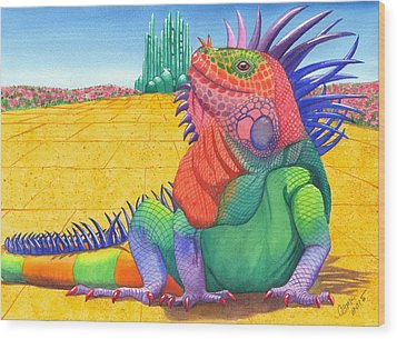 Lizard Of Oz Wood Print by Catherine G McElroy