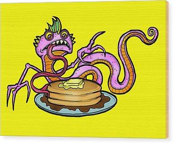 Lizard V. Pancakes Wood Print by Christopher Capozzi