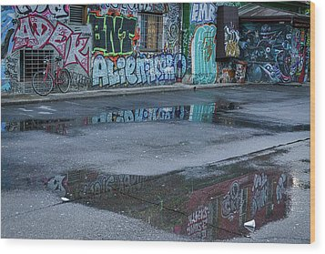 Wood Print featuring the photograph Ljubljana Graffiti Reflections #2 - Slovenia by Stuart Litoff