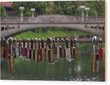 Wood Print featuring the photograph Ljubljana Love Locks - Slovenia  by Stuart Litoff