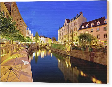 Ljubljanica River Waterfront In Ljubljana Evening View Wood Print by Brch Photography