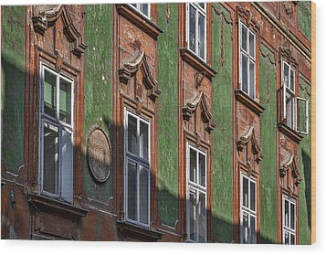 Wood Print featuring the photograph Ljubljana Windows #2 - Slovenia by Stuart Litoff
