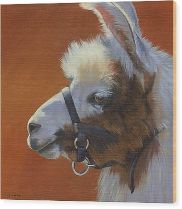 Wood Print featuring the painting Llama Love by Alecia Underhill