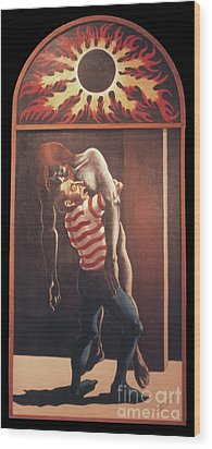 Wood Print featuring the painting Llego' Con Tres Heridas by William Hart McNichols