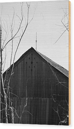 lloyd-shanks-barn-1BW Wood Print by Curtis J Neeley Jr