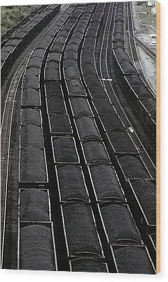 Loaded Coal Cars Sit In The Rail Yards Wood Print by Everett