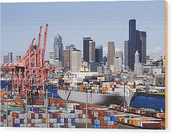 Loaded Container Ship In Seattle Harbor Wood Print by Jeremy Woodhouse
