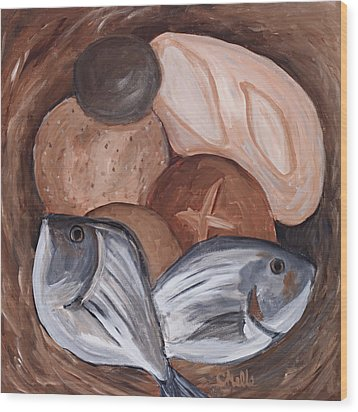 Loaves And Fishes Wood Print by Chelle Fazal