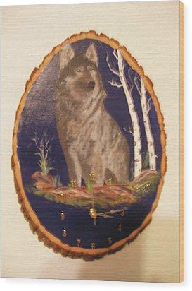 Lobo Clock Wood Print by Al  Johannessen