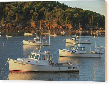 Wood Print featuring the photograph Lobster Boats At Bar Harbor Me  by Emmanuel Panagiotakis
