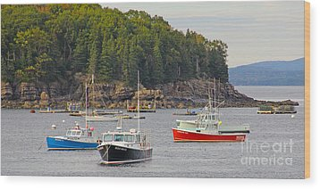 Lobster Boats In Bar Harbor Wood Print