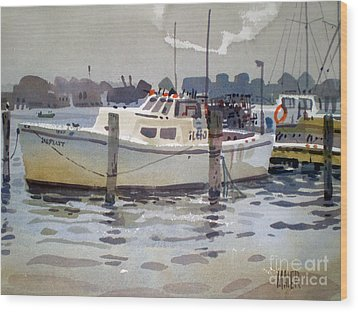 Lobster Boats In Shark River Wood Print by Donald Maier