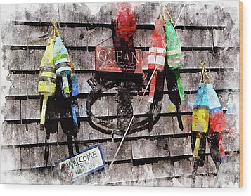 Lobster Buoys Wc Wood Print by Peter J Sucy
