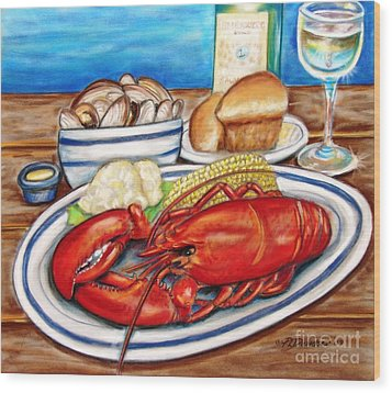 Lobster Dinner Wood Print by Patricia L Davidson