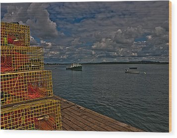 Lobster Traps On The Dock Wood Print by David Bishop