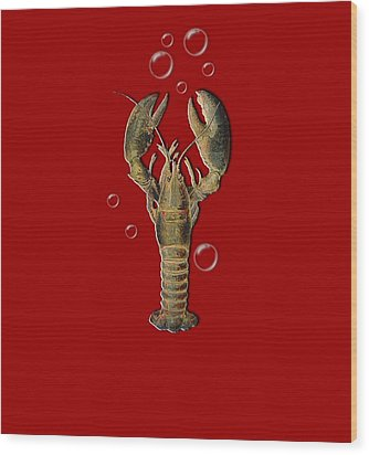 Wood Print featuring the digital art Lobster With Bubbles T Shirt Design by Bellesouth Studio