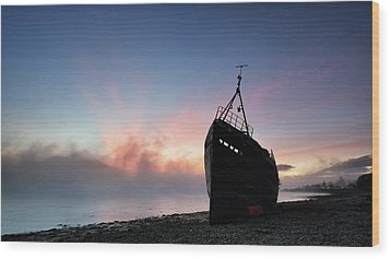 Wood Print featuring the photograph Loch Linnhe Misty Shipwreck by Grant Glendinning