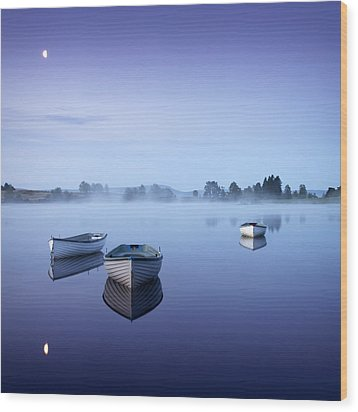 Loch Rusky Moonlit Morning Wood Print by David Mould