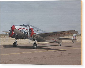 Lockheed 12a Electra Junior Nc18906casa Grande Airport Arizona March 5 2011 Wood Print by Brian Lockett