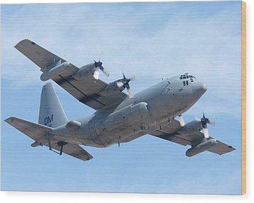 Lockheed Ec-130h Compass Call Hercules 73-1584 Davis-monthan Afb Arizona March 8 2011 Wood Print by Brian Lockett