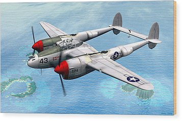 Lockheed P-38 Lightning Wood Print by Walter Colvin