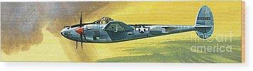 Lockheed P-38j Lightning Wood Print by Wilf Hardy