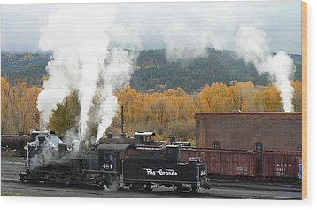 Locomotive At Chama Wood Print by Scott Rackers