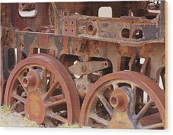 Locomotive In The Desert Wood Print by Aidan Moran