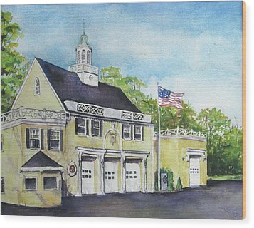 Wood Print featuring the painting Locust Valley Firehouse by Susan Herbst