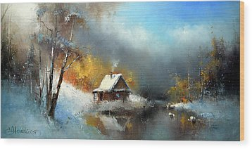 Lodge In The Winter Forest Wood Print by Igor Medvedev