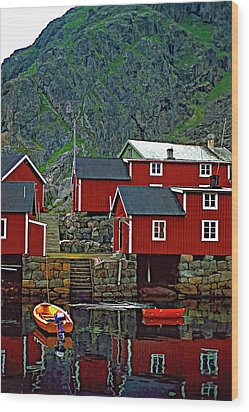 Lofoten Fishing Huts Oil Wood Print by Steve Harrington
