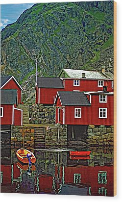Lofoten Fishing Huts Wood Print by Steve Harrington