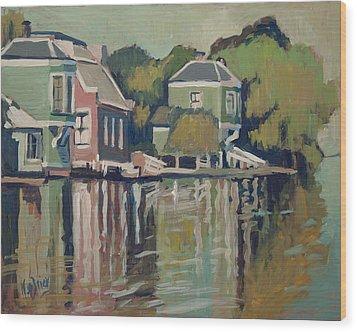 Lofts Along The River Zaan In Zaandam Wood Print by Nop Briex