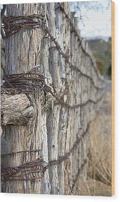 Wood Print featuring the photograph Log And Wire Fence by Phyllis Denton