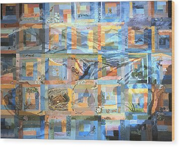 Wood Print featuring the painting Log Cabin Quilt by Dawn Senior-Trask