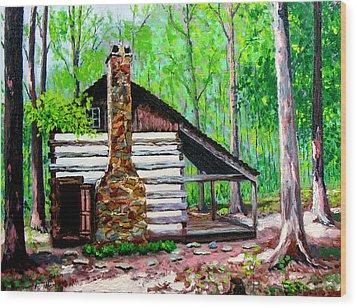 Log Cabin V Wood Print