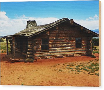Log Cabin Yr 1800 Wood Print