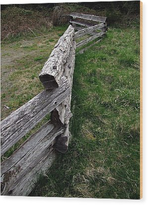 Log Fence Wood Print by Ron Roberts