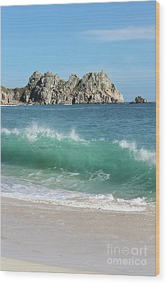 Wood Print featuring the photograph Logan Rock Porthcurno Cornwall by Terri Waters