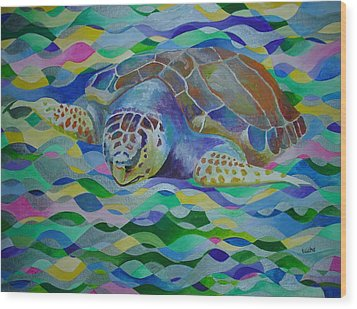 Loggerhead Turtle Wood Print by Tracey Harrington-Simpson