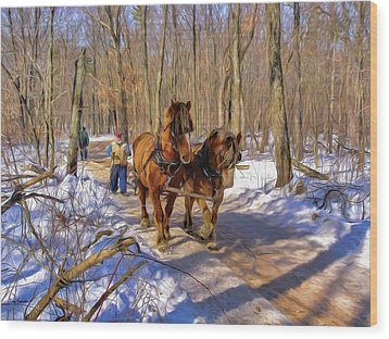 Logging Horses 1 Wood Print