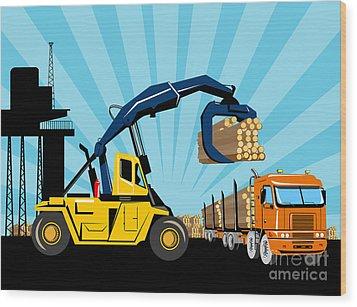 Logging Truck Wood Print by Aloysius Patrimonio